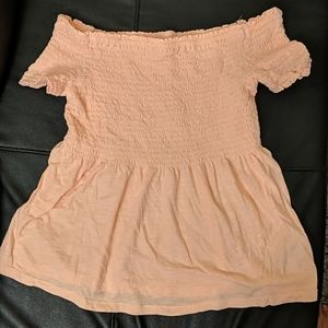 Peach baby doll off shoulder top